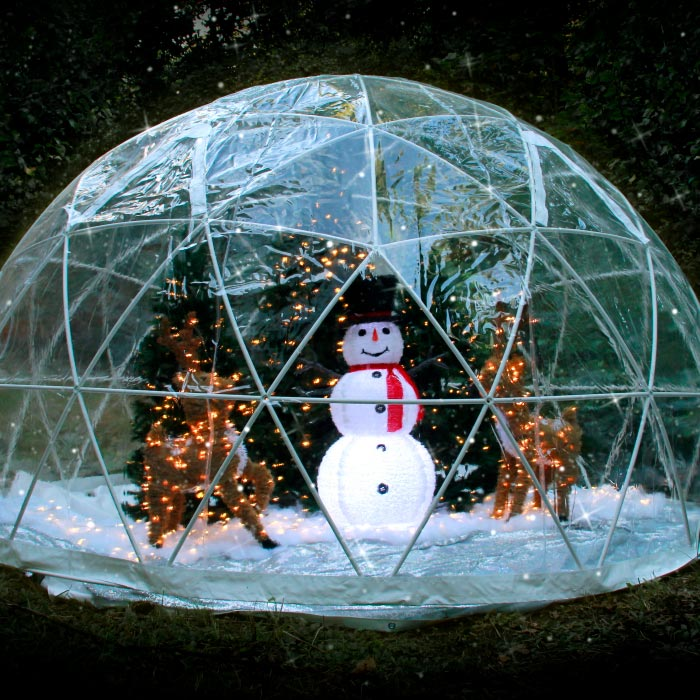 Snowman in a giant snow globe